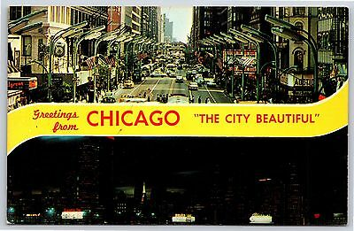 Greetings from Chicago, Illinois State Street Downtown Chrome Postcard (State Street Downtown Chicago)