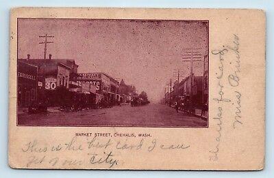 Chehalis, WA - SCARCE EARLY 1906 ROSE TINTED STREET SCENE - Dirt Rd Postcard O1