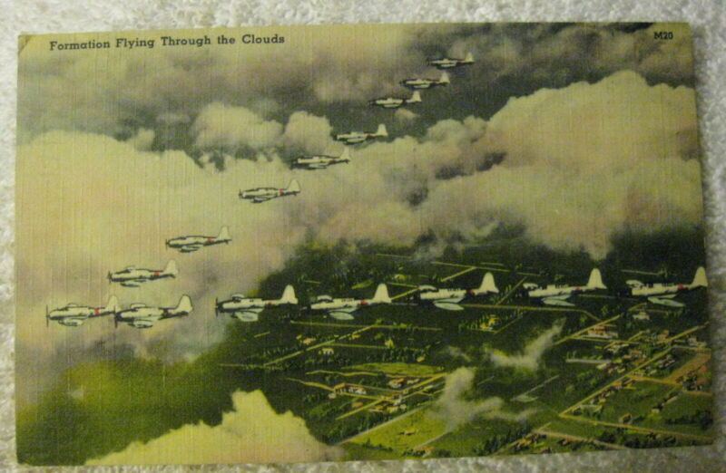 Vintage WW2 airplane formation in the clouds postcard,1941 postmark,world war 2