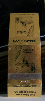 Rare Vintage Matchbook Cover K1 Virginia Beach Seafood Harbor Boat Ship Sailboat