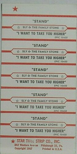 "JUKEBOX TITLE STRIP SHEET - SLY & THE FAMILY STONE ""Stand"" Epic 10450"