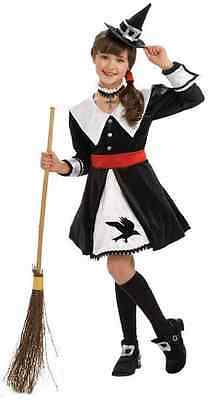 Salem Witch Wicked Black White Fancy Dress Up Halloween Deluxe Child Costume - White Witch Kids Costume