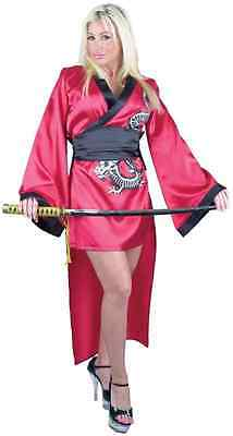 Geisha Girl Red Dragon Lady Asian Kimono Fancy Dress Up Halloween Adult (Asian Dragon Kostüm)