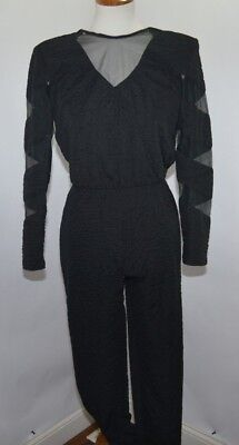 VTG 80's DQ Fashions Black Crimped Wrinkled Mesh Jumpsuit  USA Made Womens 5/6