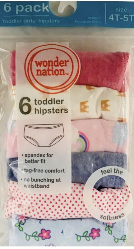 Wonder Nation Toddler Girl's  Hipsters 6 Pair ~ Size 4T-5T ..NEW!!!!