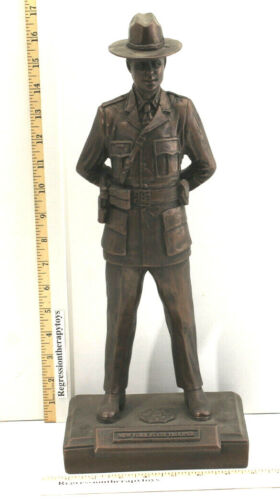 "Incredible 17"" New York State Trooper PBA Retirement Metal Statue 5lb+ Rare"
