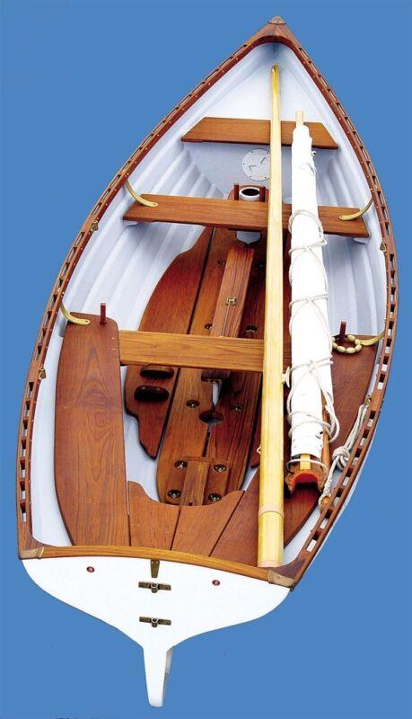 whitehall row boat with sailing rig. fiberglass, teak