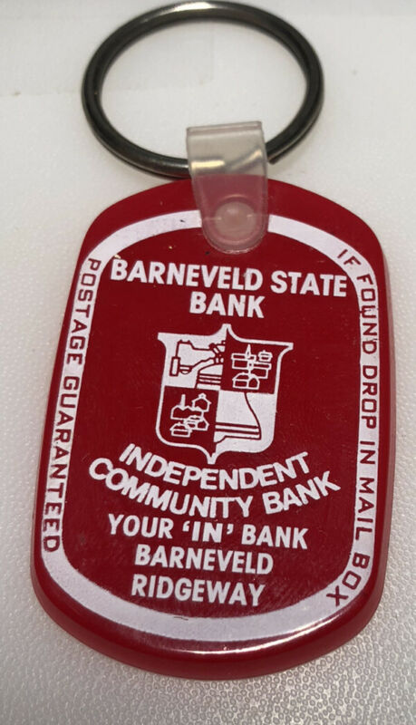 Barneveld Wisconsin State Bank Banking Financial Finance Vintage Keychain