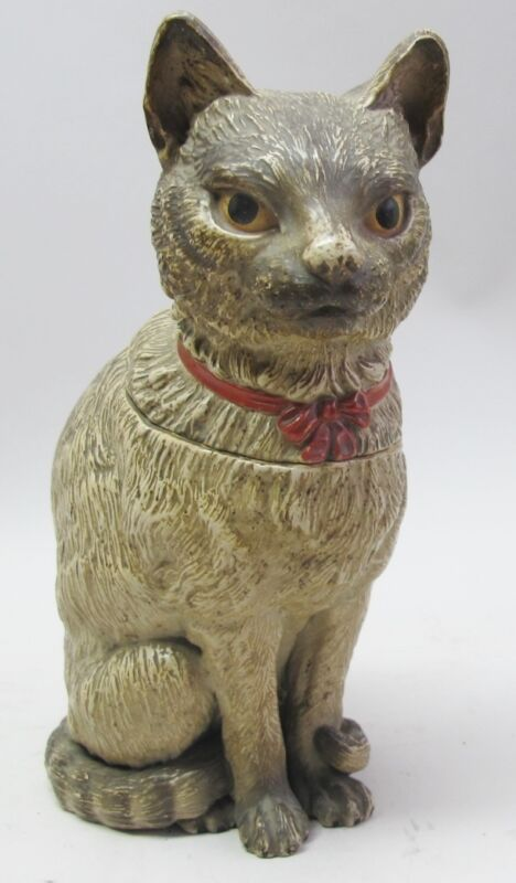 "Very Fine 19th C. AUSTRIAN 10"" TERRA COTTA Figural Jar of CAT  c. 1890  antique"