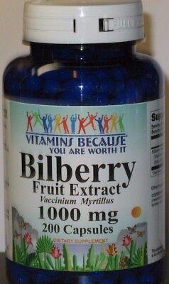 Bilberry Fruit Extract 1000Mg  200 Capsules Fresh    Eye Health