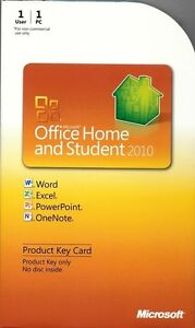 Microsoft Office 2010 Home and Student Product Key Card PKC Retail 79G-02020