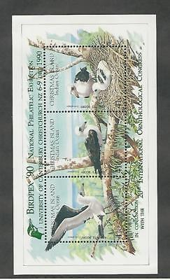 Christmas Island, Postage Stamp, #274e Mint NH Sheet, 1990 Birds Green Ovpt