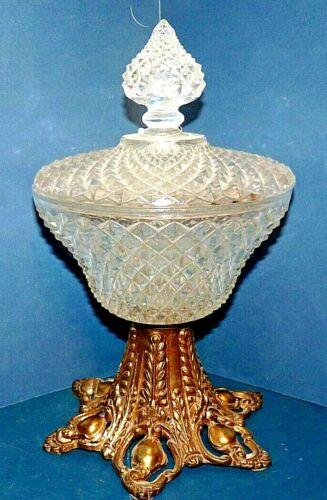 Vtg Crystal Compote w/ Lid Fruit Bowl Pedestal Brass Base Hollywood Regency Glam