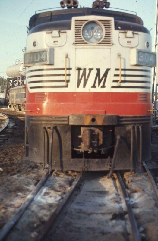 WM WESTERN MARYLAND Railroad Train Locomotive HAGERSTOWN MD 1970 Photo Slide