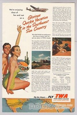 Fly Twa Airlines 50S Southwest Travel Vacation Advertisement Print Ad Vtg 1953