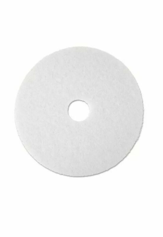 """3M 19"""" Super Polishing Floor Pads in White 4100, 5 Pads"""