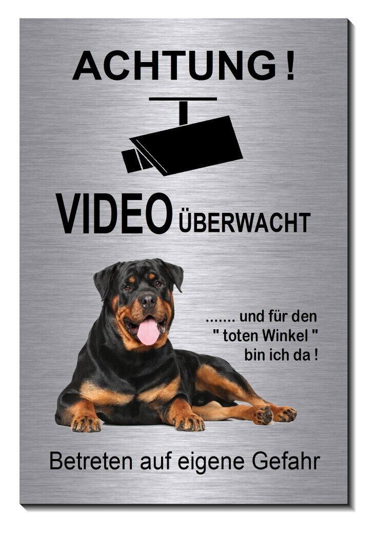 Rottweiler-Hund-Aluminium-Edelstahl-Optik-Video-Hunde--Schild-Warnschild-TOP