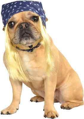 Blue Bandanna w/Hair Biker Hulk Hogan Halloween Pet Dog Cat Costume Accessory - Hulk Hogan Halloween Costume