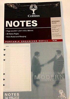 Collins Notes 6 Ring 6 34 X 3 34 Planner Fits Filofax Day Runner Timer