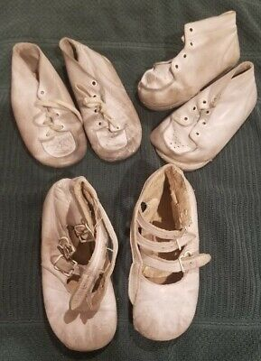 VINTAGE CHILDS SHOES LOT 3 PAIRS CHILDRENS LEATHER