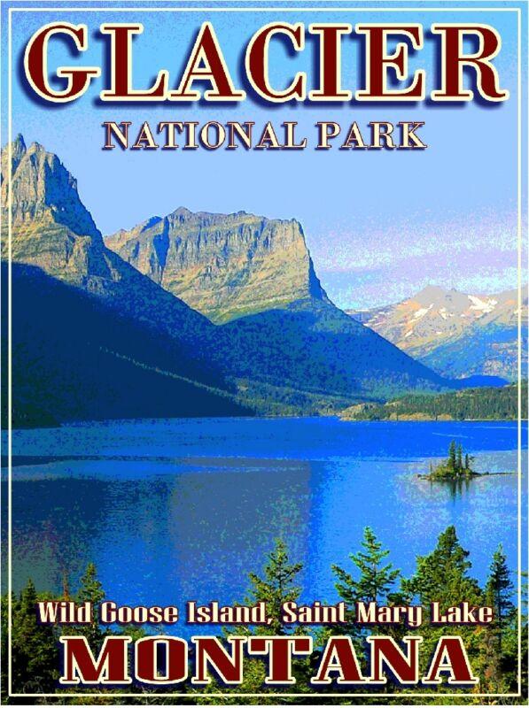 Glacier National Park Montana  United States Travel Advertisement Poster