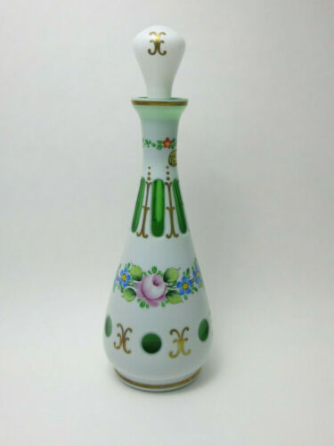 VINTAGE Bohemian Czech DECANTER w STOPPER Painted Enamel FLORAL OVERLAY - VG