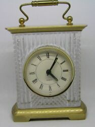 NICE ~ FIFTH AVENUE QUARTZ CRYSTAL LTD MANTEL CLOCK ~ 24% LEAD CRYSTAL