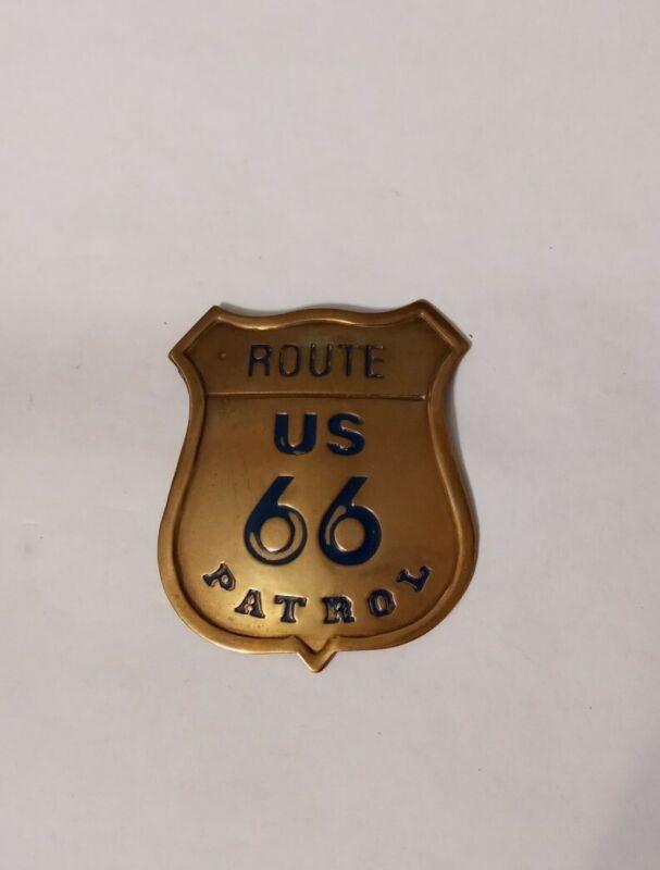 Vintage Souvenir Route 66 Shield Patrol Badge Pin