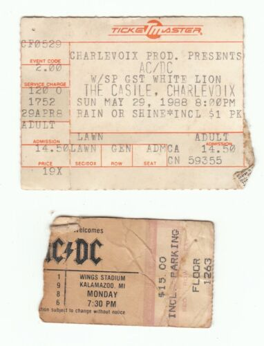 Vintage Concert Ticket Stubs ACDC Wings Stadium 1986 Casile Charlevoix 1988 Mich