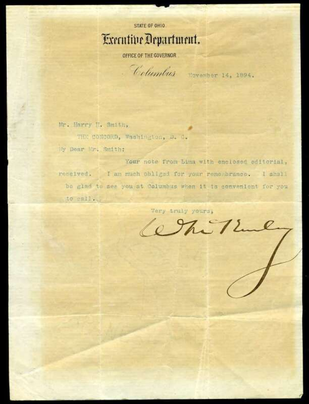William McKinley JSA Coa Hand Signed 1894 Letter Autograph