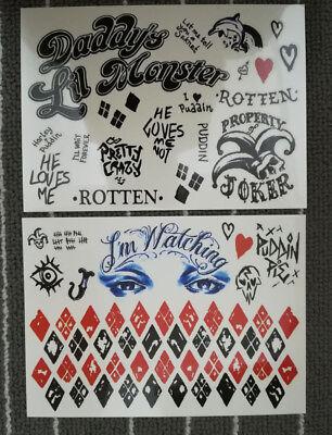 Halloween Einmal Black Tattoos Harley Quinn Temporary Tattoo Wasserfest Sticker
