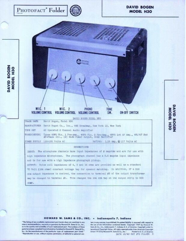 1949 David Bogen H30 Amplifier Amp Service Manual