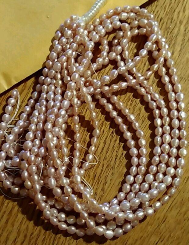 1Strand Vintage Fresh Water Pearls Sandy Rose 4.5mmx3.4mm OldStock