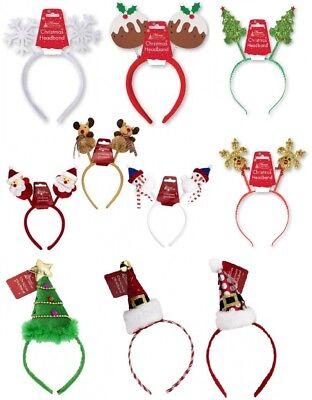 Xmas Novelty Headband,Reindeer,Snow flake,Santa,Head Bopper Kids, Adult One Size