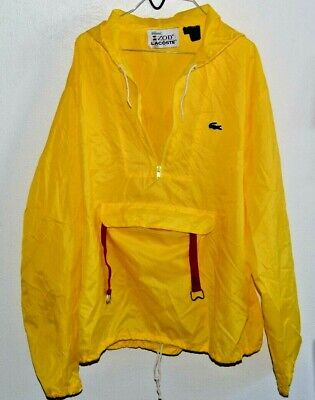 IZOD LACOSTE 1/2 Zip Yellow Windbreaker '80s Jacket Coat Men XL Hoodie Packable