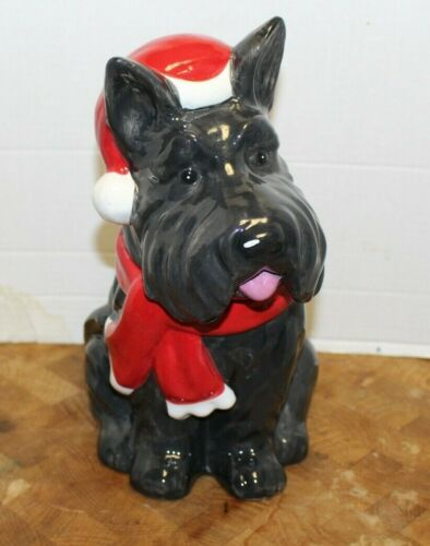 Scottie Dog Cookie Jar Holiday Time Earthenware Christmas Cute!!