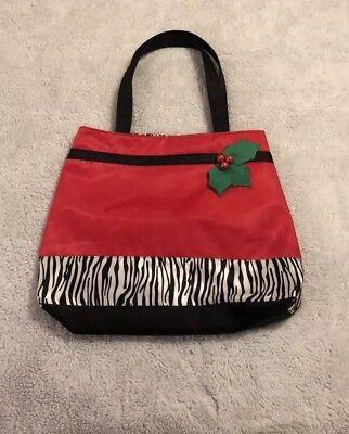 Zebra Animal Print Tote - Christmas Animal Print Tote Bag. Red W/ Holly Berries & Zebra Print. Lined. Nwot