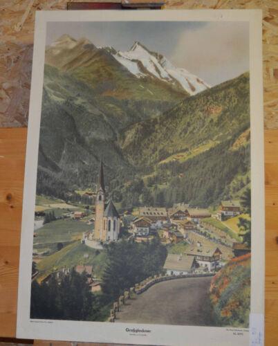 schönes altes Wandbild Großglockner Glockner Hohe Tauern 64x92cm ~1955 vintage