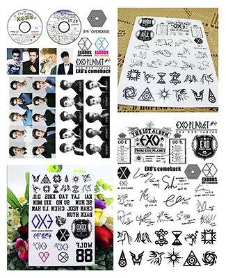 EXO Temporary Tattoo Sticker XOXO Wolf Stick-on Transfer Tattoo Waterproof KPOP