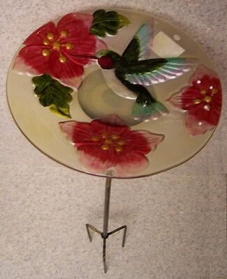 "Bird Feeder Bath Hummingbird Glass with metal stand NEW 11 1/2"" in diameter"