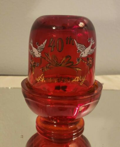 Viking Glass 40th Anniversary Ruby Red Fairy Lamp