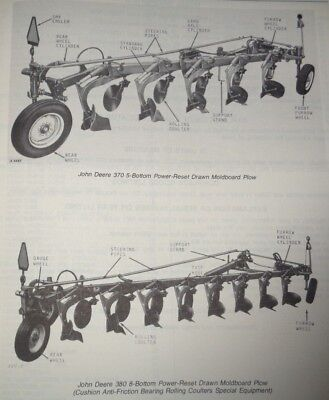 John Deere 370 380 Power Reset Moldboard Plow Parts Catalog Manual Book Jd