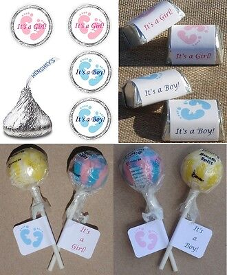 ITS A GIRL / BOY PINK / BLUE FOOTPRINTS BABY SHOWER PARTY LABELS WRAPPERS FAVORS