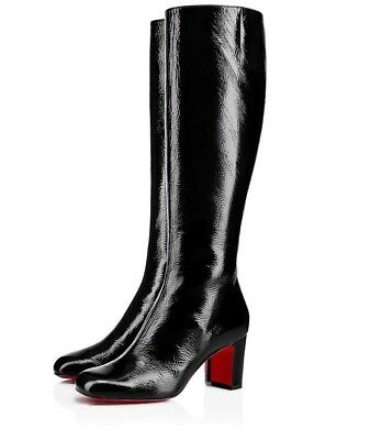 NIB Christian Louboutin Cadrilla Botta 70 Black Patent Knee High Heel Boot 36.5