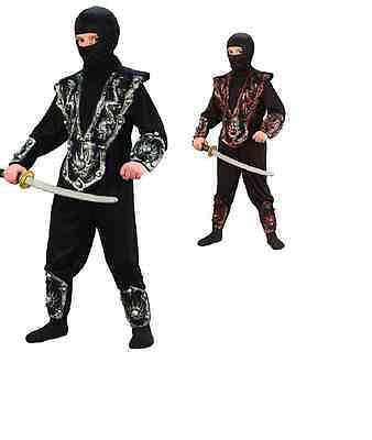 Red Ninja Costume For Boys (Ninja Warrior Boys Theme Party Halloween Costume Red Black Sz M 8-10, L)
