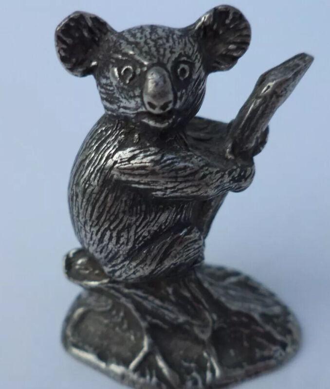 """RARE  VINTAGE 1 5/8"""" 1988 SELANGOR  PEWTER KOALA BEAR IN TREE FIGURINE MINIATURE"""