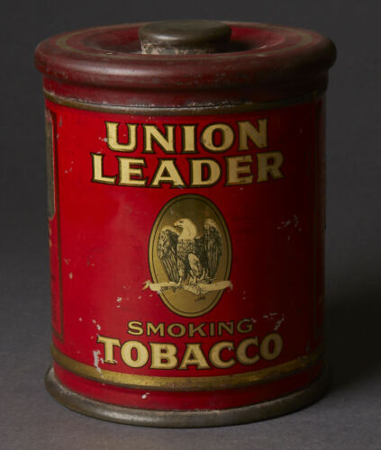 VINTAGE UNION LEADER SMOKING TOBACCO TIN CAN SIGN W/ EAGLE GRAPHIC~ NO TOBACCO