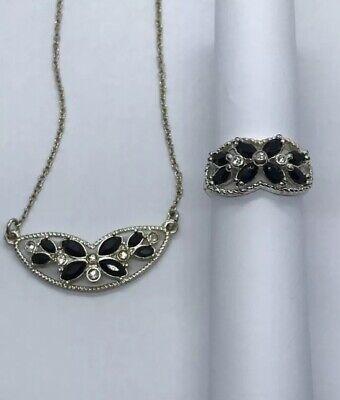 Avon NRT Black Flower Rhinestone Necklace and Ring Set Avon And Flower Ring