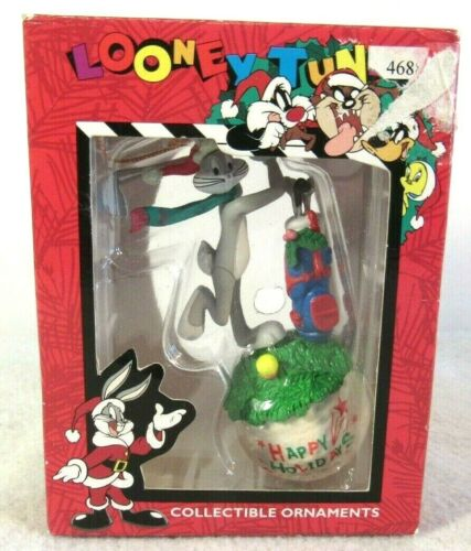 Vtg 90s Bugs Bunny Golf Ball Happy Holidays Christmas Ornament Looney Tunes Box