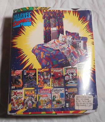 Vintage 1990s Marvel Comics Twin Size Bed Sheet Set Unopened X-Men Spider Man